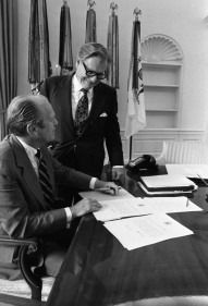 President Gerald Ford and Vice President Nelson Rockefeller in the Oval Office.
