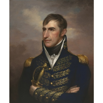 An oil painting of William Henry Harrison looking young and strong in a military dress uniform, holding a sword in his left hand.